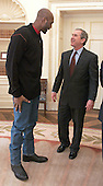United States President George W. Bush talks with Karl Malone of the Utah Jazz in the Oval Office of the White House in Washington, DC on  February 9, 2001. Malone was in Washington DC for the NBA All Star Game. <br /> Mandatory Credit: Paul Morse / White House via CNP