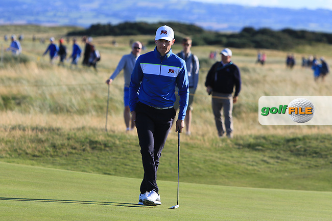Euan Walker (GB&I) on the 17th green during Day 1 Singles of the Walker Cup at Royal Liverpool Golf CLub, Hoylake, Cheshire, England. 07/09/2019.<br /> Picture: Thos Caffrey / Golffile.ie<br /> <br /> All photo usage must carry mandatory copyright credit (© Golffile   Thos Caffrey)