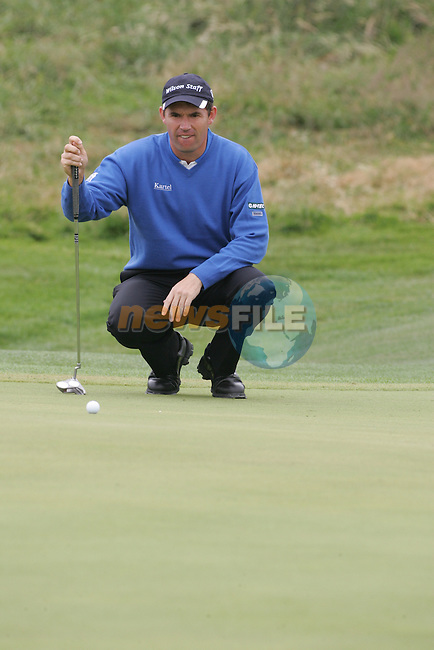 Smurfit Kappa European Open, K Club Straffin, Co Kildare..Padraig Harrington playing his ball on the 13th greene during the 3rd round of the European Open in the K Club..Photo: Fran Caffrey/ Newsfile.