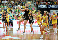 13.10.2013 Silver Fern Shannon Francios and Australian Diamond Bianca Chatfiled and Renae Hallinan in action during the Silver Ferns V Australian Diamonds Netball Series played at the AIS Arena in Canberra Australia. Mandatory Photo Credit ©Michael Bradley.