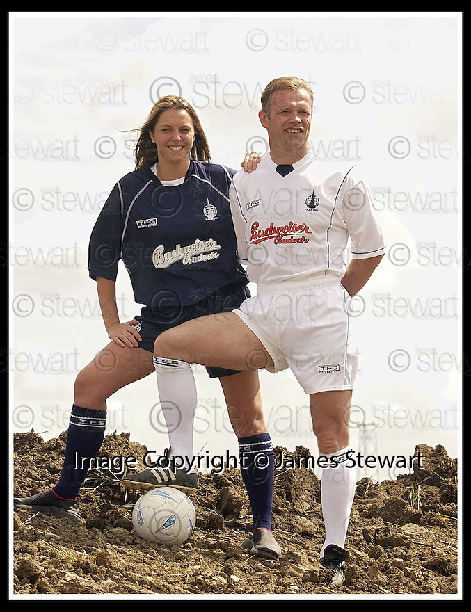 11/6/03           Copyright Pic : James Stewart              .File Name : stewart-ffc strip 08.FALKIRK PLAYER MANAGER JOHN YOGI HUGHES MODELS THE NEW FALKIRK AWAY STRIP WHILE KELLY ROY, WHO RUNS THE FALKIRK BABES CHEERLEADERS, MODELS THE NEW HOME STRIP AT THE SITE OF THE NEW STADIUM AT WESTFIELD..... .PAYMENTS SHOULD BE MADE TO :-.James Stewart Photo Agency, 19 Carronlea Drive, Falkirk. FK2 8DN      Vat Reg No. 607 6932 25.Office : +44 (0)1324 570906     .Mobile : + 44 (0)7721 416997.Fax     :  +44 (0)1324 570906.E-mail : jim@jspa.co.uk.If you require further information then contact Jim Stewart on any of the numbers above.........