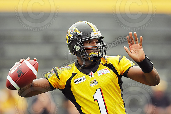 July 12, 2008; Hamilton, ON, CAN; Hamilton Tiger-Cats quarterback Casey Printers (1) prior to the CFL football game against the Saskatchewan Roughriders at Ivor Wynne Stadium. The Roughriders defeated the Tiger-Cats 33-28. Mandatory Credit: Ron Scheffler.