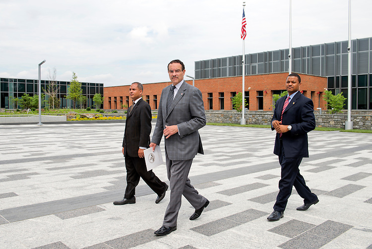 UNITED STATES - JULY 22: Mayor Vincent Gray arrives for a news conference at the new Coast Guard headquarters which will open next month at St. Elizabeths West Campus in Anacostia. (Photo By Tom Williams/CQ Roll Call)