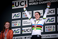 Shirin Van Anrooij (NED) wins the first ever organized Women's Junior World Championships race. <br /> <br /> Women's Junior race<br /> UCI 2020 Cyclocross World Championships<br /> Dübendorf / Switzerland<br /> <br /> ©kramon