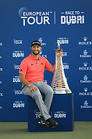 Jon Rahm (ESP) at the prize giving ceremony during the final round of the DP World Championship, Earth Course, Jumeirah Golf Estates, Dubai, UAE. 24/11/2019<br /> Picture: Golffile | Phil INGLIS<br /> <br /> <br /> All photo usage must carry mandatory copyright credit (© Golffile | Phil INGLIS)