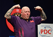 11th January 2018, Brisbane Royal International Convention Centre, Brisbane, Australia; Pro Darts Showdown Series; Andy Hamilton (GBR) celebrates his 7-6 Quarter Final Victory over Kyle Anderson (AUS)