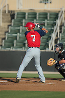 David Masters (7) of the Hagerstown Suns at bat against the Kannapolis Intimidators at CMC-Northeast Stadium on June 16, 2015 in Kannapolis, North Carolina.  The Suns defeated the Intimidators 8-4.  (Brian Westerholt/Four Seam Images)