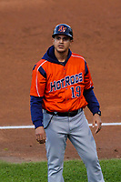 Bowling Green Hot Rods manager Reinaldo Ruis (19) during a Midwest League game against the Cedar Rapids Kernels on May 2, 2019 at Perfect Game Field in Cedar Rapids, Iowa. Bowling Green defeated Cedar Rapids 2-0. (Brad Krause/Four Seam Images)