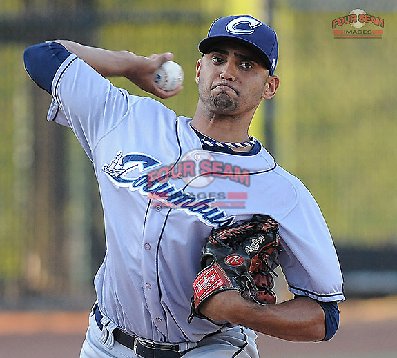 Starting pitcher Danny Salazar (40) of the Columbus Clippers before a game against the Charlotte Knights on Saturday, June 15, 2013, at Knights Stadium in Fort Mill, South Carolina. Columbus won, 4-2. (Tom Priddy/Four Seam Images)