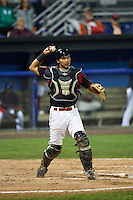Batavia Muckdogs catcher Brad Haynal (23) throws to first during the second game of a doubleheader against the Vermont Lake Monsters August 11, 2015 at Dwyer Stadium in Batavia, New York.  Batavia defeated Vermont 1-0.  (Mike Janes/Four Seam Images)