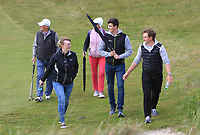 Gary Hurley (IRL), Paul Dunne (IRL) and Kate Whyte with Tony Goode (Ireland team Captain) and Cora Harris watching the play on the 3rd during Round 3 of the East of Ireland Amateur Open Championship at Co. Louth Golf Club in Baltray on Sunday 4th June 2017.<br />