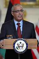 March 13, 2013  (Washington, DC)  Libyan Prime Minister Ali Zeidan makes a statement before a bilateral meeting with Secretary of State John Kerry at the Department of State in Washington, D.C.  (Photo by Don Baxter/Media Images International)