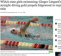 Edgewood's Kelly Rodriguez places first in the 200 yard freestyle with a time of 1:49.41 during the WIAA Division 2 girls state swimming championship on Friday at the UW Natatorium in Madison   Wisconsin State Journal article front page Sports 11/12/16 and on-line at http://host.madison.com/wsj/sports/high-school/swimming/wiaa-state-girls-swimming-ginger-lingard-s-fourth-straight-diving/article_80366312-bdd3-5c3f-a5c8-9a49f4ecbb74.html
