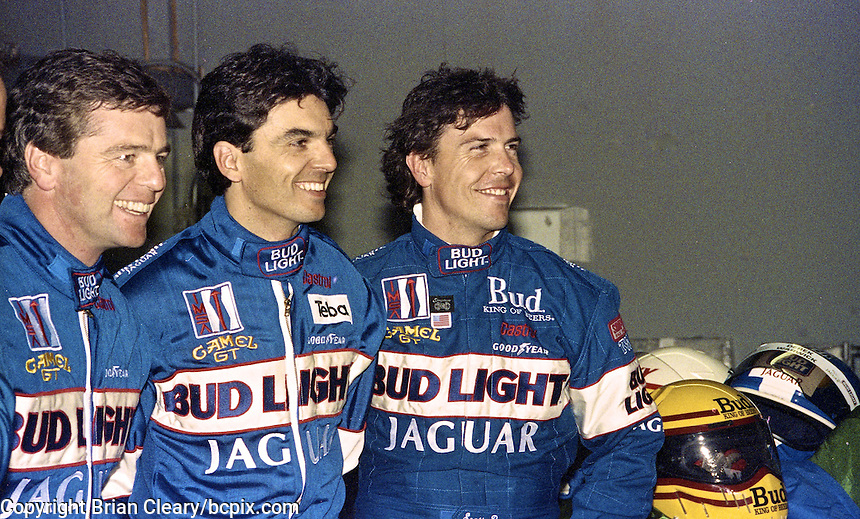 Jaguar drivers, left to right, Derek Warwick, Raul Boesel, and Scott Pruett in the garage area before the 24 Hours of Daytona, Daytona INternational Speedway, Daytona Beach, FL, February 3, 1991.  (Photo by Brian Cleary/www.bcpix.com)
