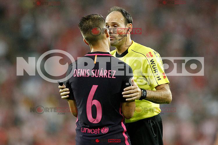 Spanish referee Mateu Lahoz have words with FC Barcelona's Denis Suarez during La Liga match. August 28,2016. (ALTERPHOTOS/Acero) /NORTEPHOTO