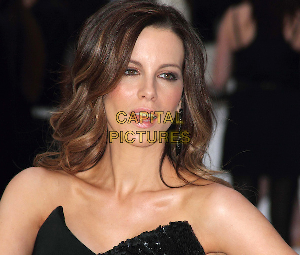 Kate Beckinsale.'Total Recall' UK Film Premiere arrivals, Vue Leicester Square, London, England..August 16th, 2012.headshot portrait black strapless sequins sequins mouth open.CAP/ROS.©Steve Ross/Capital Pictures.