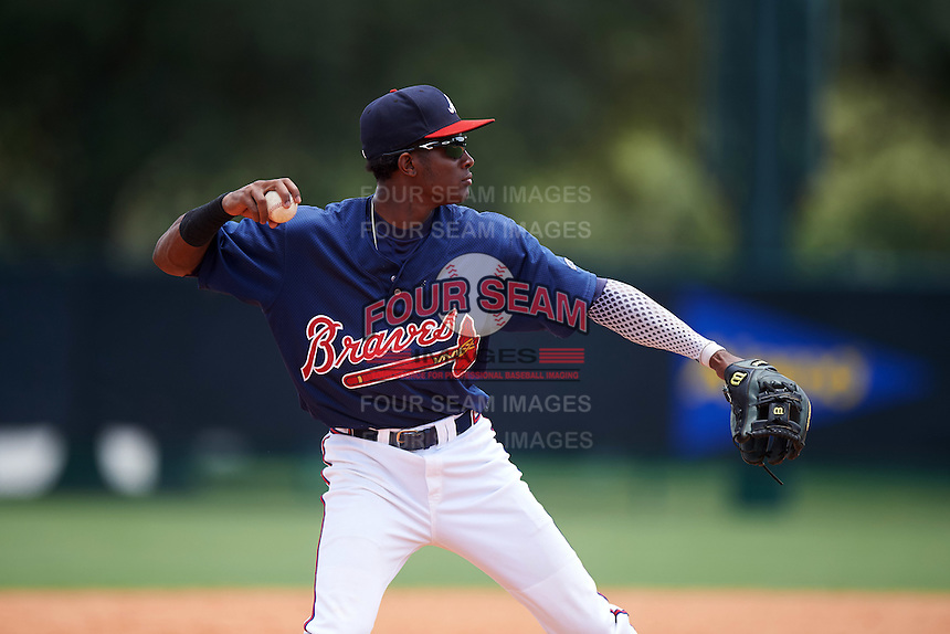 GCL Braves third baseman Alex Aquino (1) throws to first during a game against the GCL Blue Jays on August 5, 2016 at ESPN Wide World of Sports in Orlando, Florida.  GCL Braves defeated the GCL Blue Jays 9-0.  (Mike Janes/Four Seam Images)