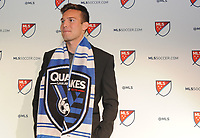 Philadelphia, PA - Thursday January 19, 2018: Danny Musovski  during the 2018 MLS SuperDraft at the Pennsylvania Convention Center.