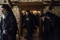 Mount Athos - The Holy Mountain.<br /> Monks leave the refectory of Pantokratoros.