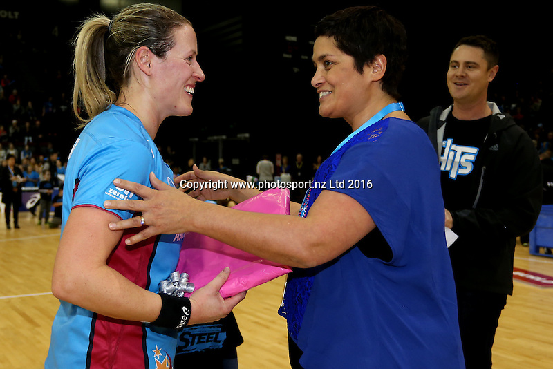 Netball South chief executive Lana Winders (R) presents Wendy Frew of the Steel with a gift for her 100th trans-Tasman netball league match after the ANZ Championship netball match between the Southern Steel and Waikato Bay of Plenty Magic, ILT Stadium Southland, Invercargill, Sunday, June 19, 2016. Photo: Dianne Manson / www.photosport.nz