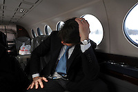 Illinois Governor Rod Blagojevich boards the state plane one last time on his way home to Chicago after speaking in his own defense at his impeachment hearing at the state capitol in Springfield, Illinois on January 29, 2009.
