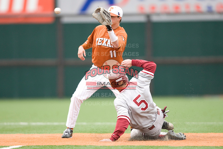 Brandon Loy of the Texas Lonhorns against the Stanford Cardinal at  UFCU Disch-Falk Field in Austin, Texas on Friday February 26th, 2100.  (Photo by Andrew Woolley / Four Seam Images)