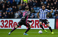 Sheffield Wednesday's  Atdhe Nuhiu challenging Leeds United's Patrick Bamford (left) <br /> <br /> Photographer Andrew Kearns/CameraSport<br /> <br /> The EFL Sky Bet Championship - Sheffield Wednesday v Leeds United - Saturday 26th October 2019 - Hillsborough - Sheffield<br /> <br /> World Copyright © 2019 CameraSport. All rights reserved. 43 Linden Ave. Countesthorpe. Leicester. England. LE8 5PG - Tel: +44 (0) 116 277 4147 - admin@camerasport.com - www.camerasport.com