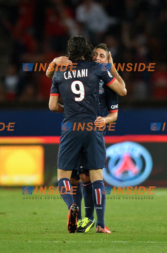 Edinson Cavani (psg) - Marco Verratti (psg)<br /> Football Calcio 2013/2014 <br /> Francia Ligue 1<br /> Foto Panoramic / Insidefoto