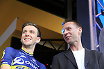 Simon Yates (GBR) Orica-Scott team and MC Jens Voigt on stage at the Team Presentation in Burgplatz Dusseldorf before the 104th edition of the Tour de France 2017, Dusseldorf, Germany. 29th June 2017.<br /> Picture: Eoin Clarke | Cyclefile<br /> <br /> <br /> All photos usage must carry mandatory copyright credit (&copy; Cyclefile | Eoin Clarke)