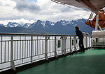 Hurtigruten ferry mountain coastal scenery Hinnoya island, near Stokmarknes, Norway