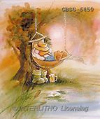 Ron, CUTE ANIMALS, Quacker, paintings, duck, hammock(GBSG6450,#AC#) Enten, patos, illustrations, pinturas