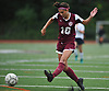 Cailey Welch #10 of North Shore takes a shot during a Nassau County AB1 varsity girls soccer game against South Side at North Shore High School on Friday, Sept. 14, 2018. South Side won by a score of 2-0.