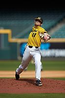 Missouri Tigers starting pitcher Konnor Ash in action against the Oklahoma Sooners in game four of the 2020 Shriners Hospitals for Children College Classic at Minute Maid Park on February 29, 2020 in Houston, Texas. The Tigers defeated the Sooners 8-7. (Brian Westerholt/Four Seam Images)