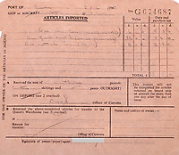 BNPS.co.uk (01202 558833)<br /> Pic: GardinerHoulgate/BNPS<br /> <br /> Custom's reciept that proves the provenance.<br /> <br /> £40,000 Antiques Roadshow suprise find heads for auction...<br /> <br /> An extremely rare watch a British seaman bought for £35 as a 21st birthday present in the Far East is now tipped to sell for a whopping £40,000.<br /> <br /> There were only 50 red hand 'Ultraman' Speedmasters ever made, and unknown to Roger he had bought one nearly 50 years ago.<br /> <br /> Now retired, Roger Cooper(71) acquired the Omega Speedmaster new while serving in the Merchant Navy on the steamer 'Chitral' in Hong Kong in 1968.<br /> <br /> He spent £35, almost a month's wage at the time, on the timepiece, buying it from a wholesaler he had become friendly with. But it has proved a shrewd investment as it has increased over 1,000 times in value in the intervening five decades.<br /> <br /> Grandfather of two Mr Cooper, from Havant, Hants, has now decided to auction it with Gardiner Houlgate, of Corsham, Wilts.