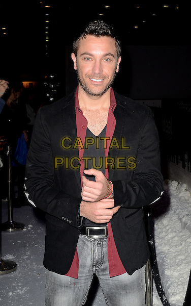 Gino D'Acampo .The Ideal Home Christmas Show at the Earls Court, London, England..14th November 2012  .half length suit jacket black red maroon shirt stubble facial hair.CAP/WIZ.© Wizard/Capital Pictures.