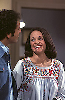 "Valerie Harper and David Groh rehearse scene from television series, ""Rhoda,"" during its first season. The series ran from 1974-1978. CBS Studios, Los Angeles, 1974."