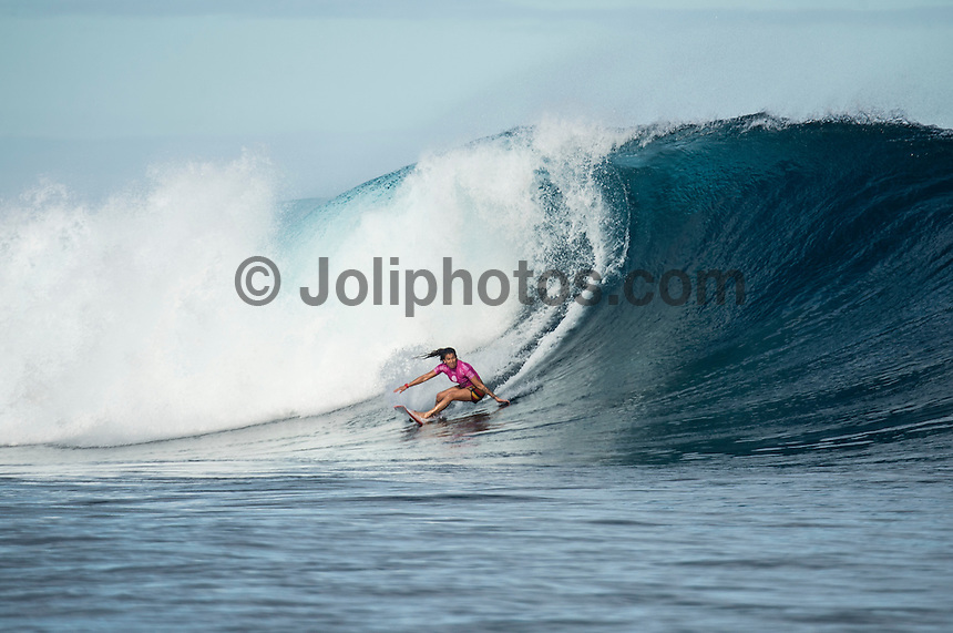 Namotu Island, Fiji (Tuesday, June 2, 2015) Silvana Lima (BRA) - Action continued today at the fifth stop on the 2015 WSL Championship Tour (CT), the Fiji Women&rsquo;s Pro, with a day of high drama and high scores. The world&rsquo;s best female surfers posted four nine-point rides as competition ran through Rounds 2 and 3 in solid surf at Cloudbreak. <br />  <br /> Rookie Tatiana Weston-Webb (HAW) was the standout of the day, claiming both the highest heat total and single-wave score, while defending event winner Sally Fitzgibbons (AUS) suffered a perforated eardrum in the heavy conditions but still made it through to the Quarterfinals.<br />  <br /> Weston-Webb (HAW) had an impressive run of form, looking confident and at ease on her forehand in the sizable surf. She started with a convincing victory over Sage Erickson (USA) in Round 2, pulling into the wave of the day for a long, deep tube and earning a near-perfect 9.73 (out of a possible 10). The young Hawaiian went on to face Jeep Leaderboard No. 1 and two-time World Champion Carissa Moore (HAW) and Coco Ho (HAW) in Round 3 where another nine-point ride saw her take the top spot and a place in the Quarterfinals, sending her opponents to Round 4.<br /> <br /> The surf was in the 4'-6' range with light winds for most of the morning. A light onshore came up early afternoon and the swell became inconsistent.   Photo: joliphotos.com