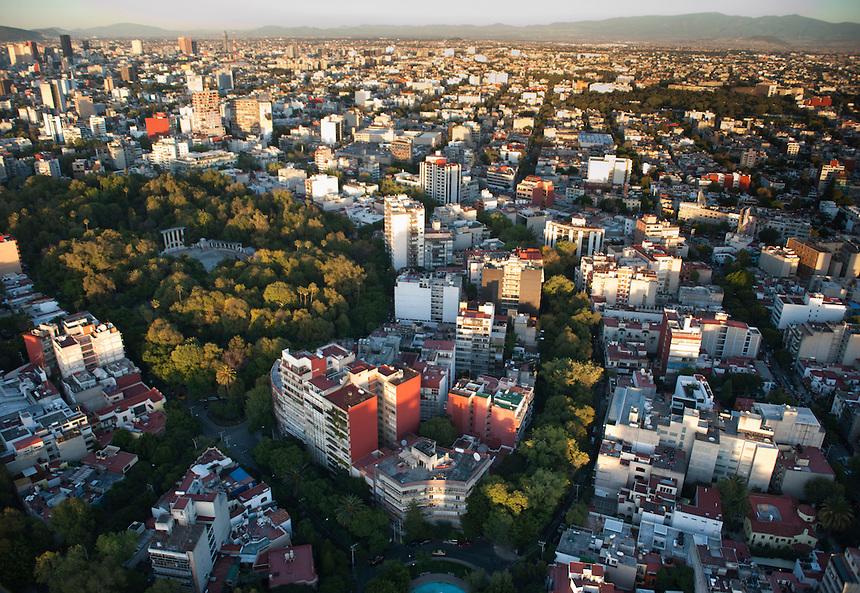 Parque Mexico, La Condesa. Aerial photos of Mexico City, Mexico