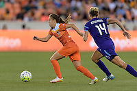 Andressa (17) of the Houston Dash races up the field with the ball with Becky Edwards (14) of the Orlando Pride in pursuit on Friday, May 20, 2016 at BBVA Compass Stadium in Houston Texas. The Orlando Pride defeated the Houston Dash 1-0.