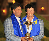 Winning captain Jose Maria Olazabal and Rory McIlroy with the Ryder Cup at the end of Sunday's singles matches at the Ryder Cup 2012, Medinah Country Club,Medinah, Illinois,USA 30/09/2012.Picture: Fran Caffrey/www.golffile.ie.