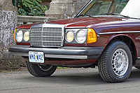 Front view of the 1979 Mercedes W123 300 Turbo Diesel from Missouri in the USA, at Gliffaes Hotel near Abergavenny, Wales, UK. Friday 24 August 2019