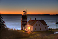 West Quoddy Head Light in Lubec, Maine in pre-dawn light