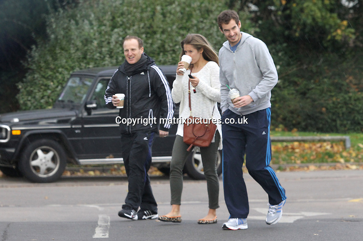 EXCLUSIVE PICTURE: MATRIXPICTURES.CO.UK<br /> PLEASE CREDIT ALL USES<br /> <br /> WORLD RIGHTS<br /> <br /> Scottish professional tennis player Andy Murray, OBE and his girlfriend Kim Sears, are pictured with a male friend as they go out for coffee near their Surrey home.<br /> <br /> The Wimbledon 2013 winner is seen smiling, perhaps due to his recently presented OBE from Prince William, Duke of Cambridge. <br /> <br /> Andy, unfortunately, has been forced to pull out of the ATP World Tour Finals. This is due to recently undergoing corrective surgery on his back, after suffering from persistent nerve related problems. <br /> <br /> However, the 26 year old appears to be on the mend, targeting his comeback to tennis for the Australian Open which is occurring in January 2014.<br /> <br /> OCTOBER 28th 2013<br /> <br /> REF: MTX 137017