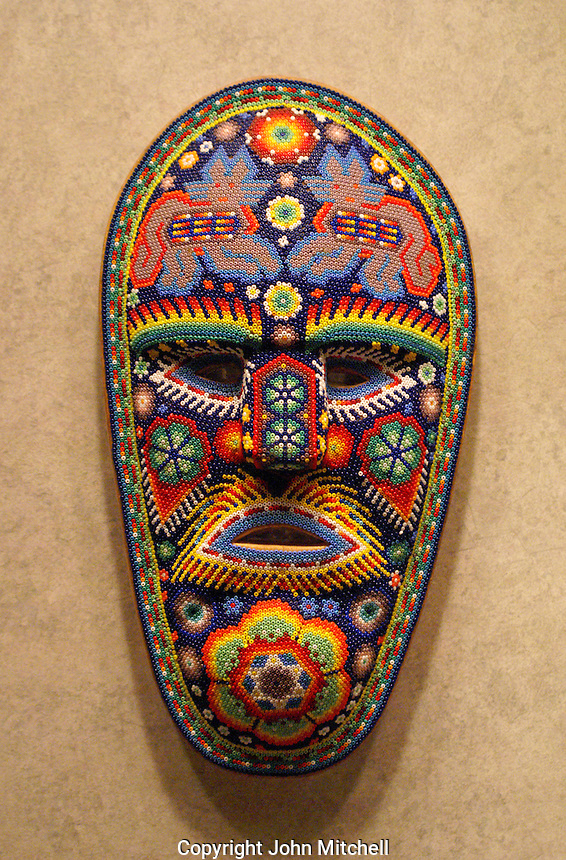 Huchol beadwork mask in the National Museum of Anthropolgy in Chapultepec Park, Mexico City