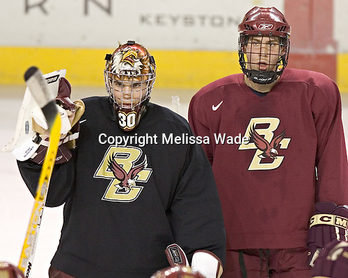 Adam Reasoner, Kyle Kucharski - Boston College's morning skate on Friday, December 30, 2005 at Magness Arena in Denver, Colorado.  Boston College defeated Ferris State that afternoon in a shootout and defeated Princeton the following night to win the Denver Cup.