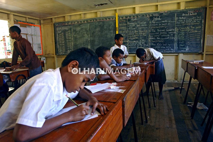 Sala de aula em Yanuya Island. Ilhas Fiji. 2009. Foto de Caio Vilela.