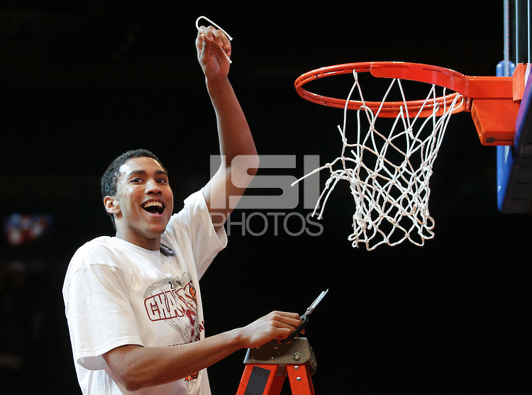 Stanford's Josh Huestis (24) holds up a piece of net after defeating Minnesota 75-51 in championship game of the NIT at Madison Square Garden, New York, N.Y., Wednesday, March 29, 2012. (Rich Schultz/isiphotos.com)
