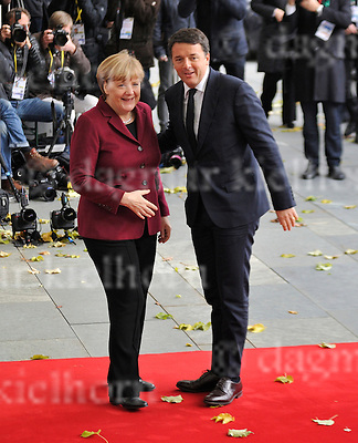 Nov.18-16 Chancellery,Berlin,Germany<br /> Italien MP, Matteo Renzi  is<br /> welcomed by the German Chancellor Angela Merkel