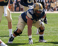 Pitt offensive lineman Mike Herndon. The Pitt Panthers football team defeated the Albany Great Danes 33-7 on September 01, 2018 at Heinz Field, Pittsburgh, Pennsylvania.