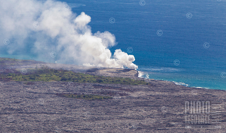 A view of where Kilauea's lava enters the ocean on the Big Island.
